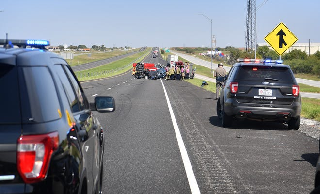 Tecas Department of Public Safety, Wichita Falls Police and Fire Departments investigate a fatality accident Thursday morning on I-44 near Bacon Switch Road. A farm truck was driving southbound in the northbound lanes when it collided with a blue pickup truck.