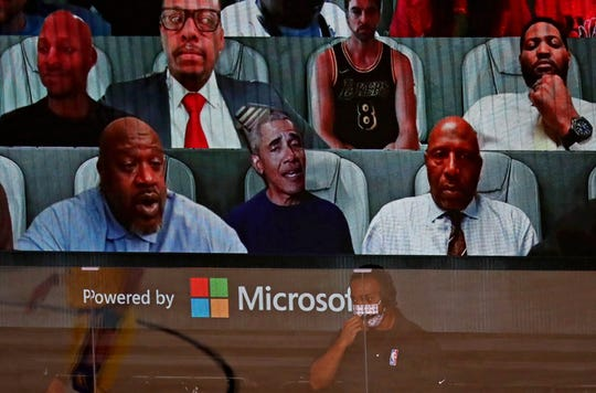 Former President Barack Obama was in the virtual crowd alongside a number of NBA legends for Game 1 of the NBA Finals.