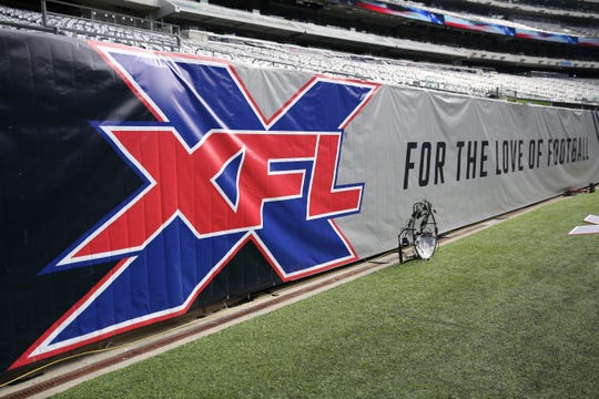 A general view of the XFL logo on a sideline banner before an XFL football game between the Tampa Bay Vipers and the New York Guardians, on Feb. 9, 2020.