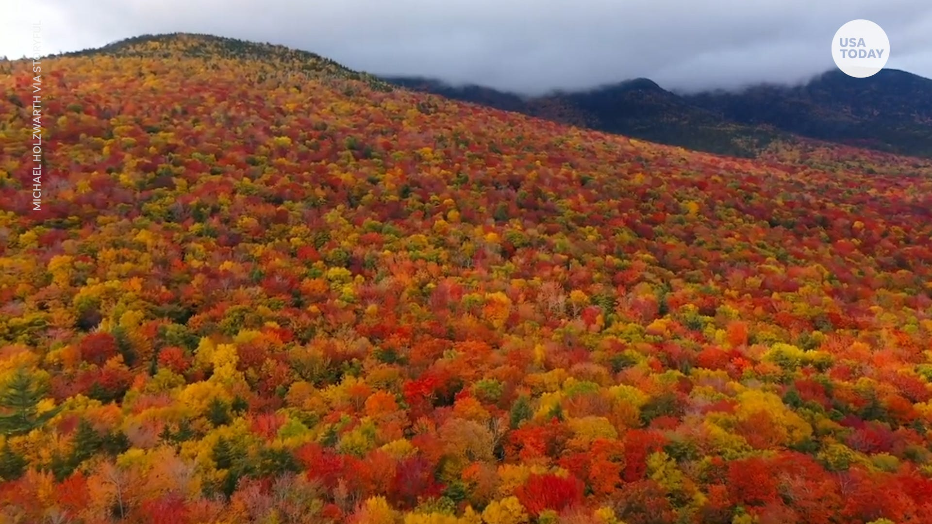 Fall foliage is beautiful and vibrant around the White Mountain range in New Hampshire