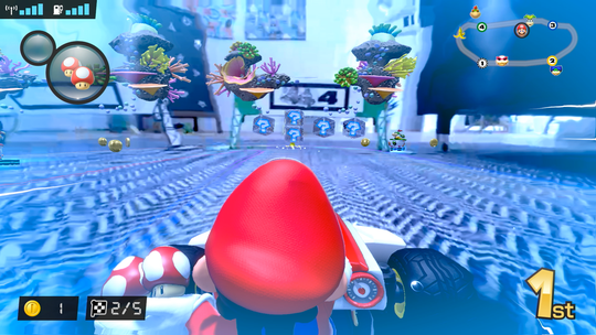 An underwater race in 'Mario Kart Live: Home Circuit.'