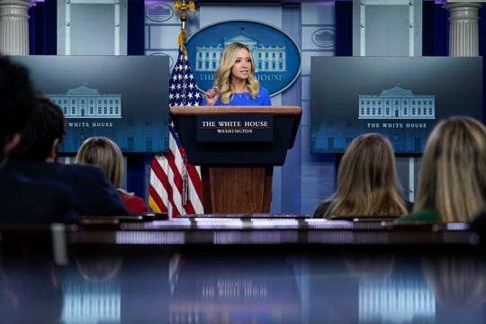 White House press secretary Kayleigh McEnany's last briefing at the White House before she tested positive for the coronavirus was on Oct. 1.