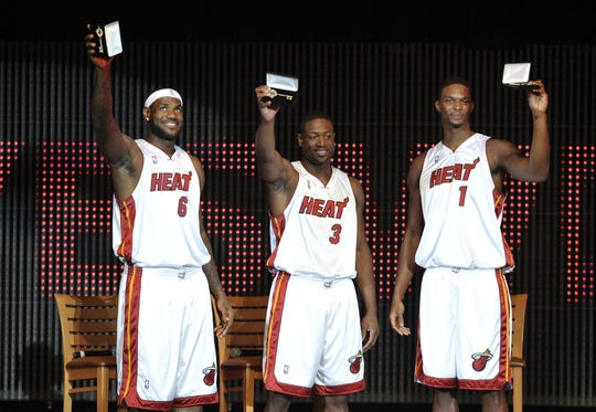 LeBron James, Dwyane Wade and Chris Bosh at their introductory event in Miami in 2010.