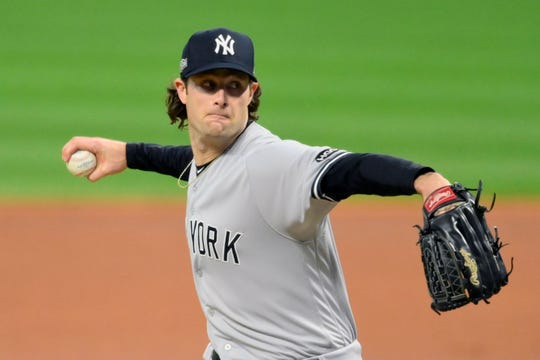Yankees pitcher Gerrit Cole went 7-3 with a 2.84 ERA and 94 strikeouts in 12 starts this season.