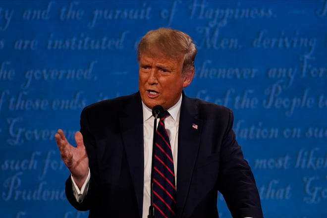 President Donald Trump at the presidential debate on Sept. 29, 2020, in Cleveland.