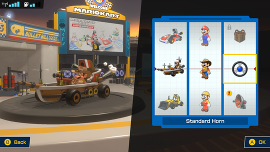 The menu screen where you select your kart in Mario Kart Live: Home Circuit.