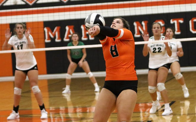 Marlington's Mallory Bennett returns a West Branch volley during conference action at Marlington High School on Thursday, October 1, 2020.