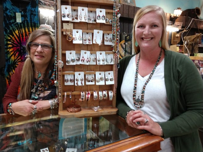 New owners of the Creative Outlet Indian Jewelry and Clothing Store are Jill Dunlap, left, and her daughter in law Megan Dunlap. Jill has worked in the business for 30 years and Megan 10.