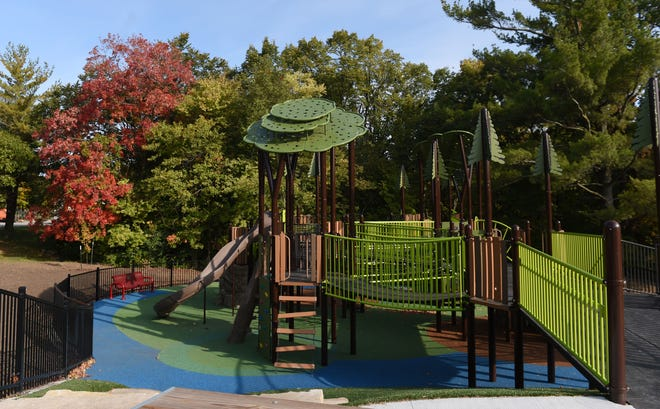 The Ames Miracle Playground and Field is pictured at Inis Grove Park off Duff Avenue in in Ames, Iowa on Friday, Oct. 2, 2020.