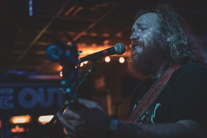 Jordan Voigt, of the band Bleujack, performs at Time Out in Ames during the Maximum Ames Music Festival in 2019. Bleujack will perform in the Oct. 10 MAMF Livestream Special, which will have no live, in-person audiences but will feature 20 performances during a day-long virtual event.