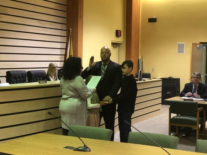 Mayor Ryan Tuno being sworn in as mayor in January.