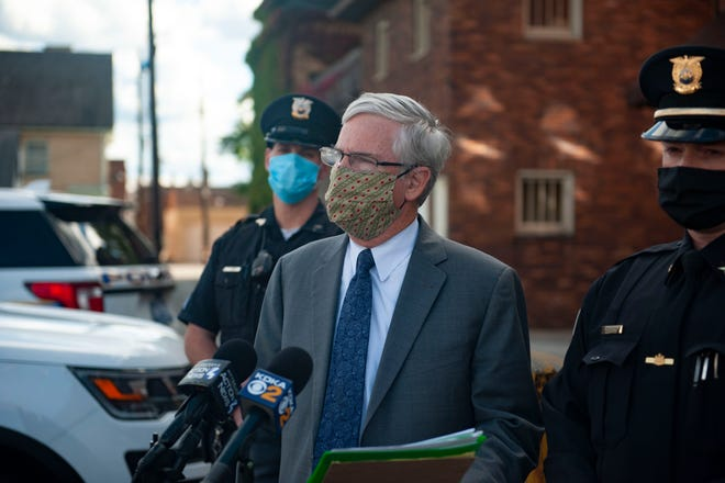 Beaver County District Attorney David Lozier, seen here during a press conference this fall, said he will reprimand employees who refuse to receive the COVID-19 vaccine for non-medical reasons.