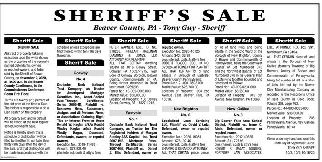 Beaver County Sheriff's Sale