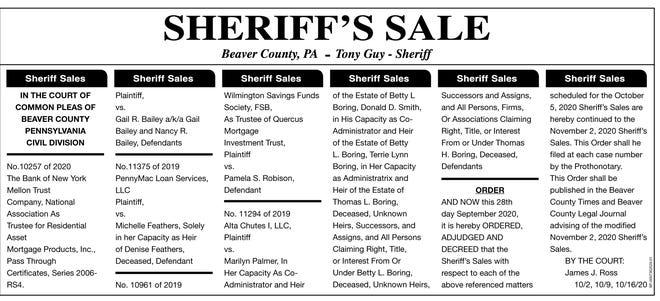 Beaver County Sheriff's Sale
