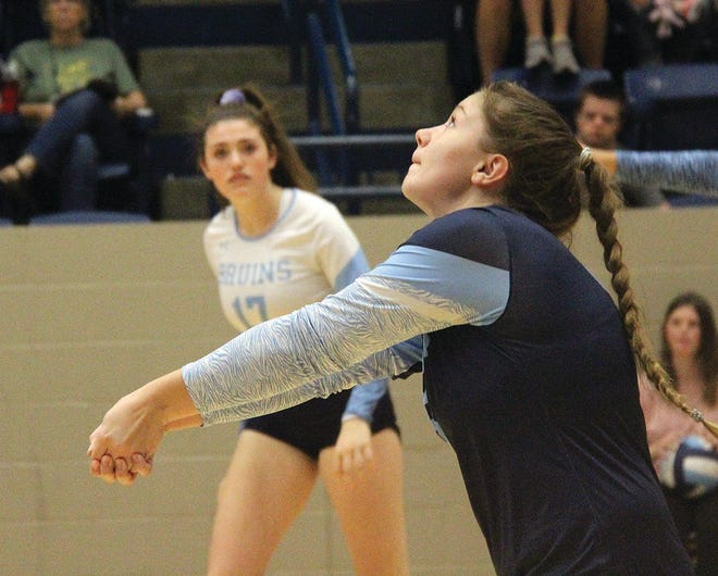 Sydney Collins makes a pass during her sophomore season for the Bartlesville High volleyball team. Collins has switched this year to the setter's role and is a key for the Lady Bruins' winning record.