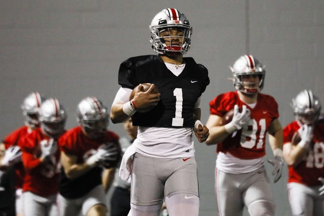 Ohio State quarterback Justin Fields says he feels faster and stronger since adopting a largely vegan diet a few months ago. [Joshua A. Bickel/Dispatch]