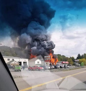The fire seen from the road.