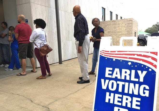 Residents line up to vote early in a recent Lafourche Parish election.