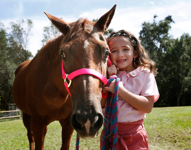 Bella Blair, 6, enjoys some sunshine with Penny, her family's quarter horse, outside their home in Lake Helen on Friday, Oct. 2, 2020. Next month will make it a year since Penny and Bella's therapy animal, a minature horse named Gracie, were attacked by a neighbor's dog. Gracie succumbed to her injuries.