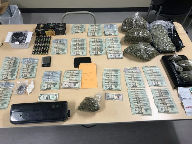 A total of 11 pounds of marijuana, 730 marijuana vape pens, 1.7 ounces of crack cocaine, four dosage units of ocycodone, and $25,725 in cash were seized.