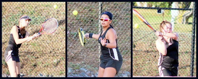Viktoria Sioreti, a junior, and seniors Rose Lombardo and Madison Strickler make up the singles contingent of the Delaware Valley girls tennis team this fall. The Warriors have had an up and down season but are hoping for a solid finish as they push toward the post-season.