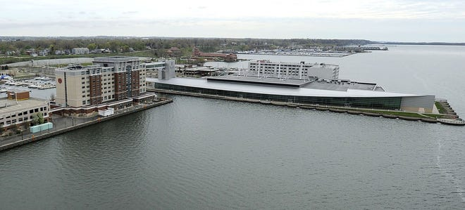 The state Commonwealth Court on Oct. 14 is scheduled to hear arguments in the appeal over the tax exemption for the hotels in the Bayfront Convention Center complex. The properties are the Sheraton Erie Bayfront Hotel, at left, and the Courtyard by Marriott Erie Bayfront Hotel, at far right. The tax exemption for the convention center, between the two hotels, is not in dispute.