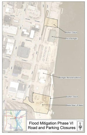 The next two areas of flood wall work are the highlighted areas north and south of Memorial Auditorium in Burlington.