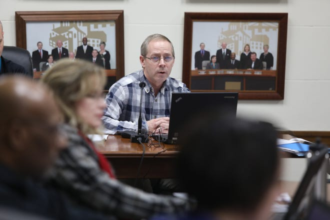 as Burlington City Manager Jim Ferneau gives an overview of the 2019-2200 budget during a City Council special work session, Thursday Jan. 10, 2019 in the City Council Chambers at City Hall.