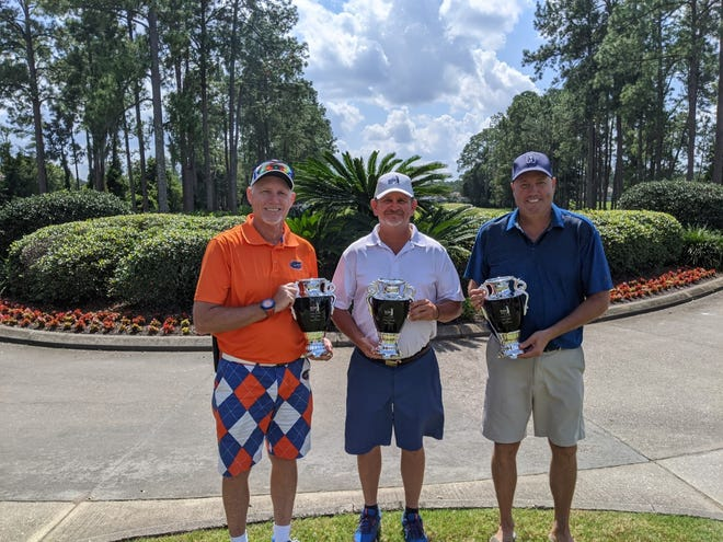 Jacksonville Senior Amateur Tour flight champions for the season are (from the left) Mike Ellison in the championship flight, Jimmy Scheoning in the B flight and Steve Taylor in the C Flight. Not pictured is John Brendel in the A flight.