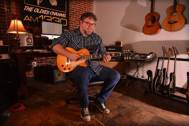 Mayfair Art Studios, at the recently renovated Mayfair Mills in Spartanburg, Friday, October 2, 2020. Mayfair Art Studios will be holding First Friday events each month, with the studios open for visitors to tour and meet the resident artists and learn about the classes they offer. Ryan Ridgeway, a musician and owner of Ridgeway Studios, works in his studio Friday.