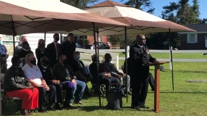 Members from state and county NAACP chapters along with the Onslow County Sheriff's Office spoke at Wailing Wall Ministries in Jacksonville on Thursday to discuss the current swastika investigation