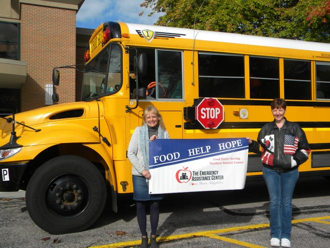 The Emergency Assistance Center in Northfield Center will be the beneficiary of much needed help from the sixth-annual Fill the Bus Campaign in October. Nordonia Hills and Twinsburg schools, along with area businesses and organizations are taking part. Pictured are EAC Executive Director Joyce Hunt, left, and Karen Byers, president of the Building Boosters of Nordonia Hills, which is hosting the food drive with Nordonia High School PTSA.