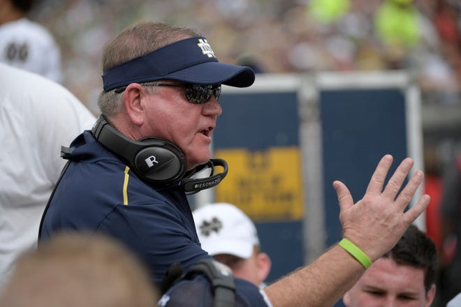 """Notre Dame coach Brian Kelly says the impact of the coronavirus has made fielding a roster an """"ongoing process."""""""