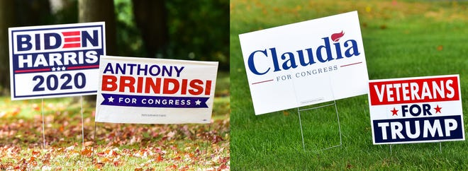 As the November election nears, political yard signs — including these seen in New York Mills — have sprouted throughout the Oneida County area. Along with the presidential and congressional races, elections for seats on the state Assembly and Senate are also on the 2020 ballot.