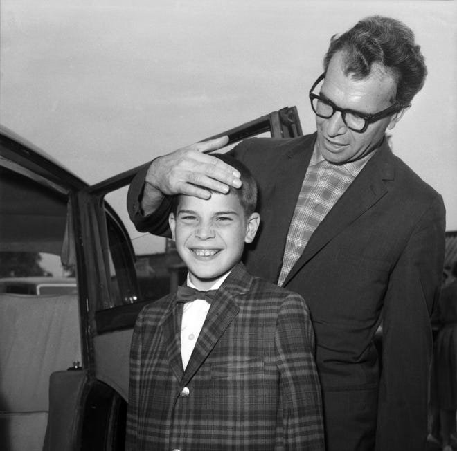 "American Jazz legend Dave Brubeck and his 13-year-old son Christopher, also a musician, arrive at London Airport, United Kingdom, in 1061. Nearly eight years after his death, his final solo recording is set for release Nov. 6: ""Lullabies,"" a collection of intimate standards often played for children."