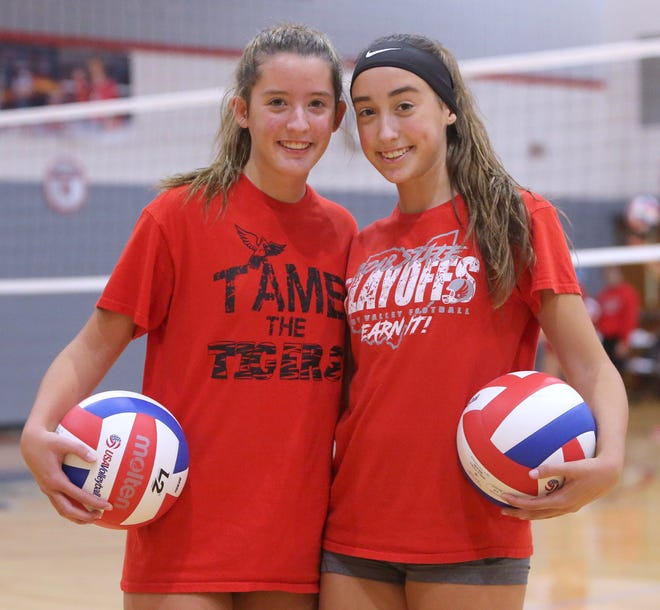 The Sandy Valley volleyball program has four sets of sisters this season. Demi and Breli Faiello are shown at the school Thursday, Oct. 1, 2020.