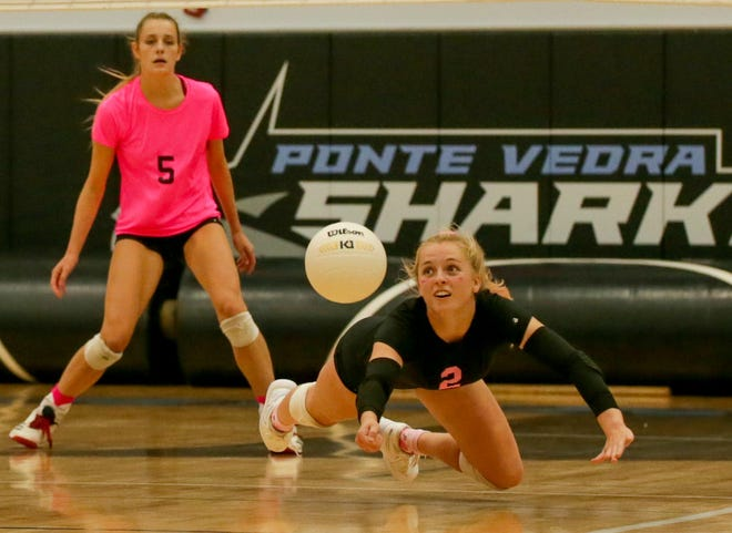 Ponte Vedra libero Ava Witt (2) lunges for a dig in an October match. The Sharks play Wakulla for a return trip to the final four.