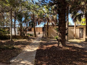 The home designed by Ralph Twitchell  and Jack West of the Sarasota School of Architecture for Walter Farley and his wife, Rosemary, at 1100 Sunset Drive is set back on a 1.86-acre wooded lot.