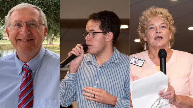 From left: Sarasota County Democratic candidates Mark Pienkos, Cory Hutchinson and Alice White are accused of campaign finance violations.