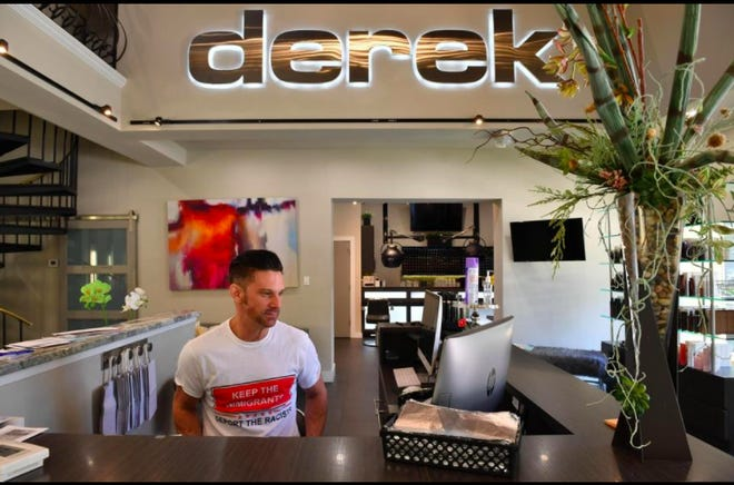 "Derek Donovan at his salon on Pineapple Avenue. Free haircuts for service workers, Donovan said, ""was this little idea [that] kind of blew up in the best of ways."""