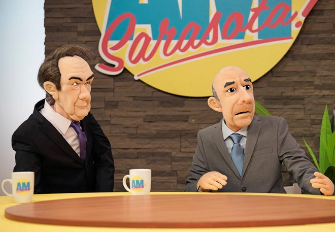 "Puppets of Charlie Rose, left, and Matt Lauer as hosts of the fictional ""AM Sarasota!"" on ""Let's Be Real"" on Fox."