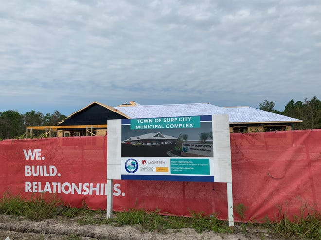 The construction site of Surf City's new municipal complex on Oct. 2. The building will house Surf City's town hall and police department.