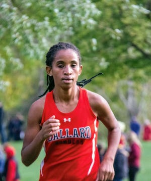 Shewaye Johnson took first in the varsity girls' race for Ballard at the Leon Fox Invitational cross country meet Oct. 1 in Perry.