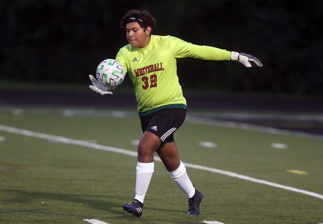 Goalie Edwin Gutierrez clears the ball during the Whitehall-Yearling boys soccer team's game at Delaware on Sept. 17. The Rams, who won 2-0, were 6-2 overall and 1-2 in the MSL-Ohio Division before playing Worthington Christian on Oct. 3.
