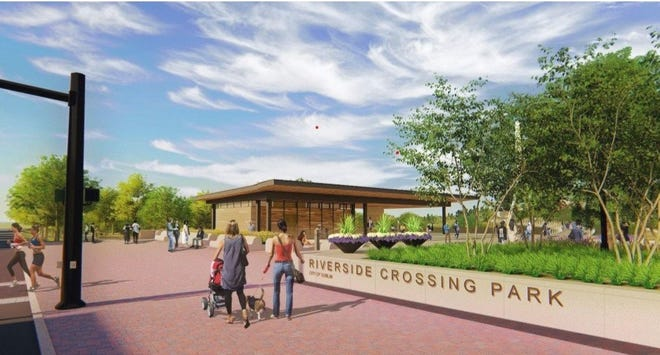 This architect's rendering shows a portion of what is planned for Dublin's Riverside Crossing Park along the banks of the Scioto River. The city's capital-improvements program will help pay for work on the lower plaza, which is expected to begin in January and the creation of lawn space, shared-use paths, river access path and landscaping.