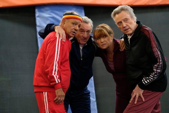 "Cheech Marin, from left, Robert De Niro, Jane Seymour and Christopher Walken in a scene from ""The War with Grandpa."""