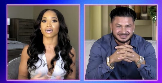 "Nikki Hall and Pauly D from the Oct. 1, 2020 episode of MTV's ""Double Shot at Love"""