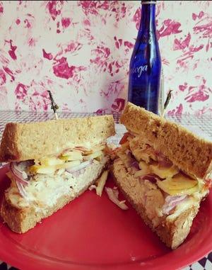 Red Onion's trademark sandwich, the Red Onion on honey-oat bread.