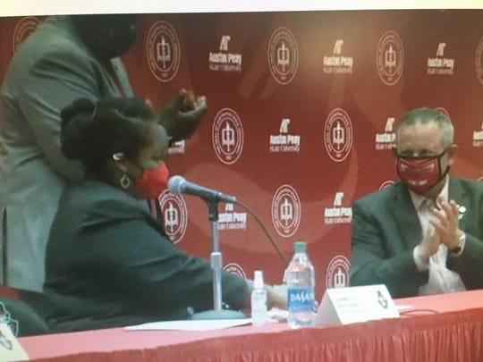 APSU Interim President Dannelle Whiteside and Montgomery County Mayor Jim Durrett ink the deal.