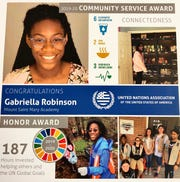 Gabriella Robinson a junior at Mount Saint Mary Academy received the service award from United Nations Global Goals program.